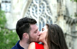 Kiss under the Heart of Yorkshire window at the Minster