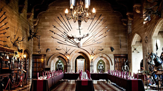 Banquet hall at Warwick Castle
