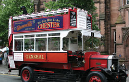 View Chester from an open-top vintage bus