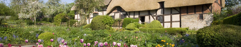 In the garden of Anne Hathaway's Cottage in Stratford-upon-Avon