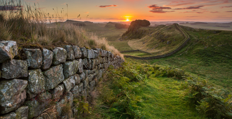 Hadrian's Wall at sunrise