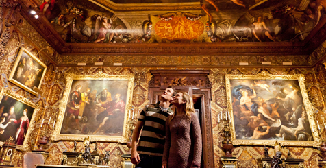 A couple looking at art in Chatsworth