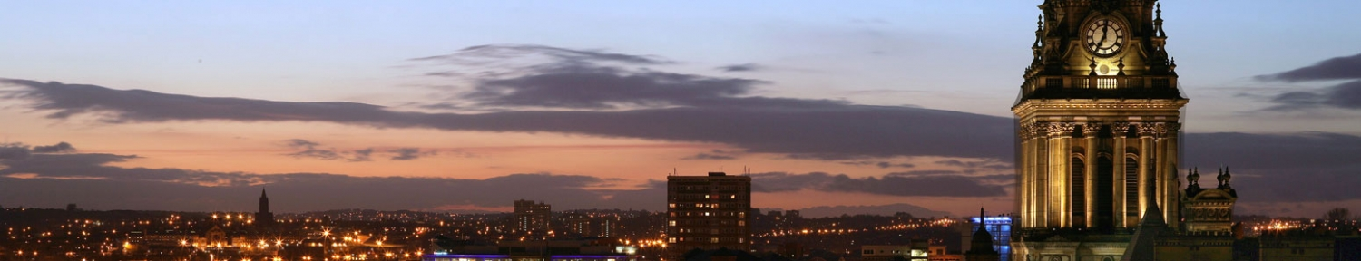 A view of the Leeds skyline at night