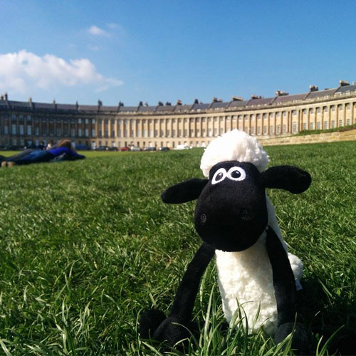 Shaun the Sheep infront of the Royal Crescent