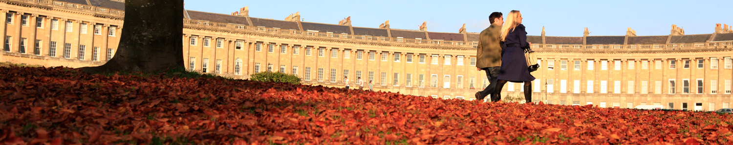 Bath's Royal Crescent in autumn