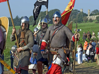 Costumed actors reenact the Battle of Hastings, East Sussex