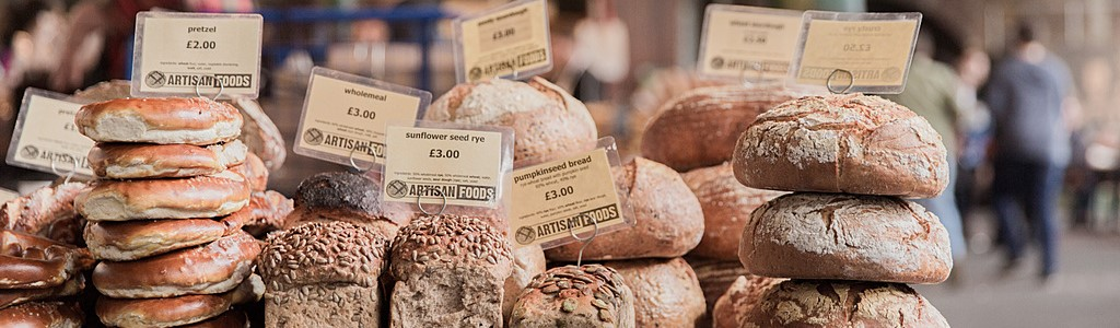 Bread stall at Borough Market in London