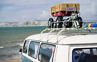 A cavavan by the sea