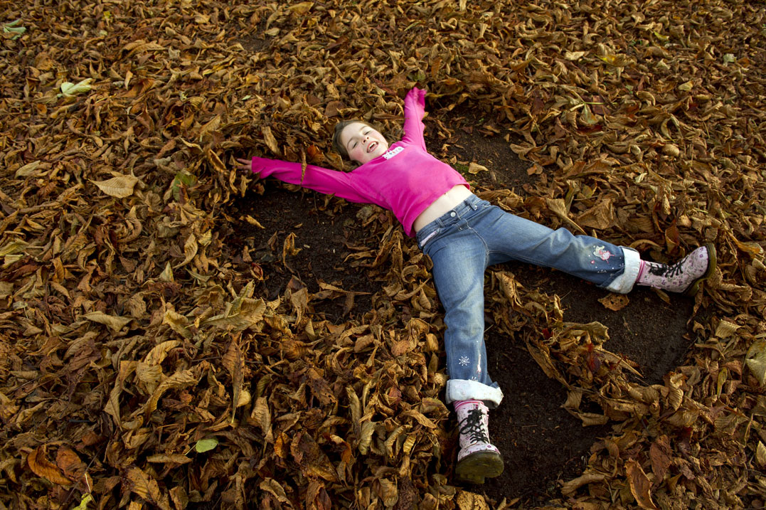 Child playing in the autumn leaves; NT Images John Millar (1)