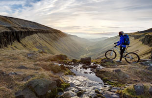 A man cycling in Eden Valley