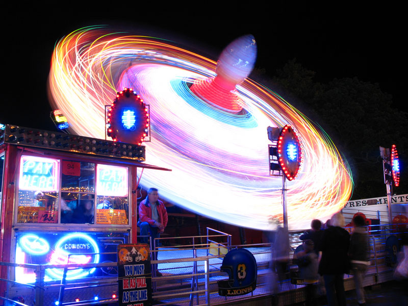 A colourful ride captured in slow motion at Goose Fair