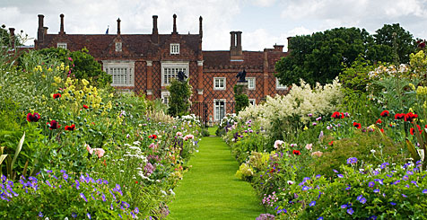 View of Helmingham Hall Gardens, Suffolk