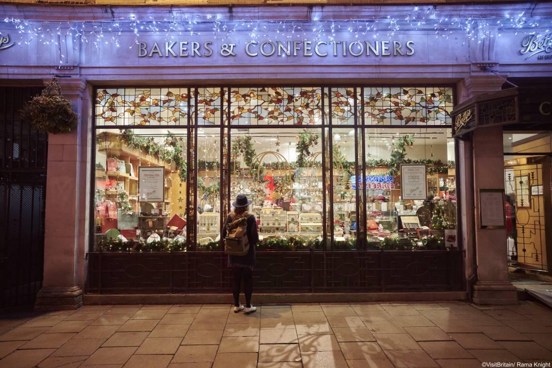 Bettys Tea Rooms Christmas window at night