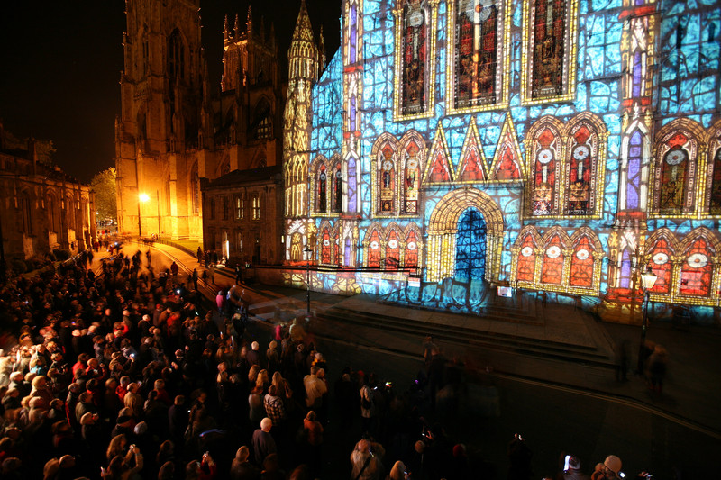 Crowds gathered to look at the intricate light show projected onto York Minster