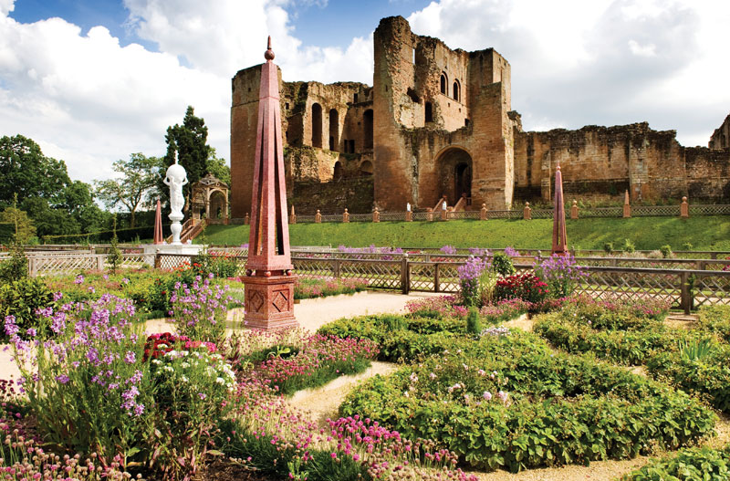 exterior shot of the elizabethan gardens and romantic ruins of Kenilworth