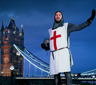 A knight celebrates the Rugby World Cup 2015 in London