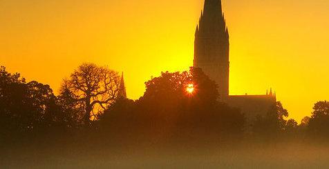 Sun setting over Salisbury