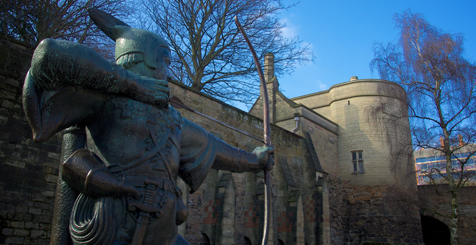Robin Hood statue outside Nottingham Castle