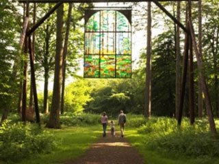 Stained glass sculpture in the Forest of Dean