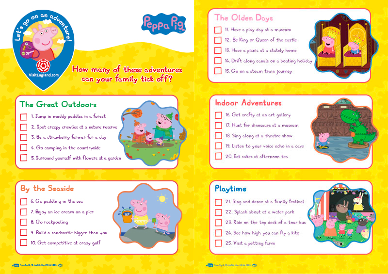 Peppa Pig adventure list print-off