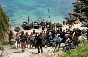 On location in Cornwall on the set of the BBC drama Poldark