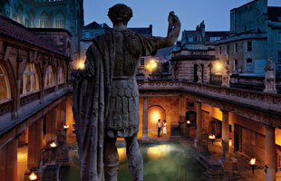 Roman Baths at twilight; Bath