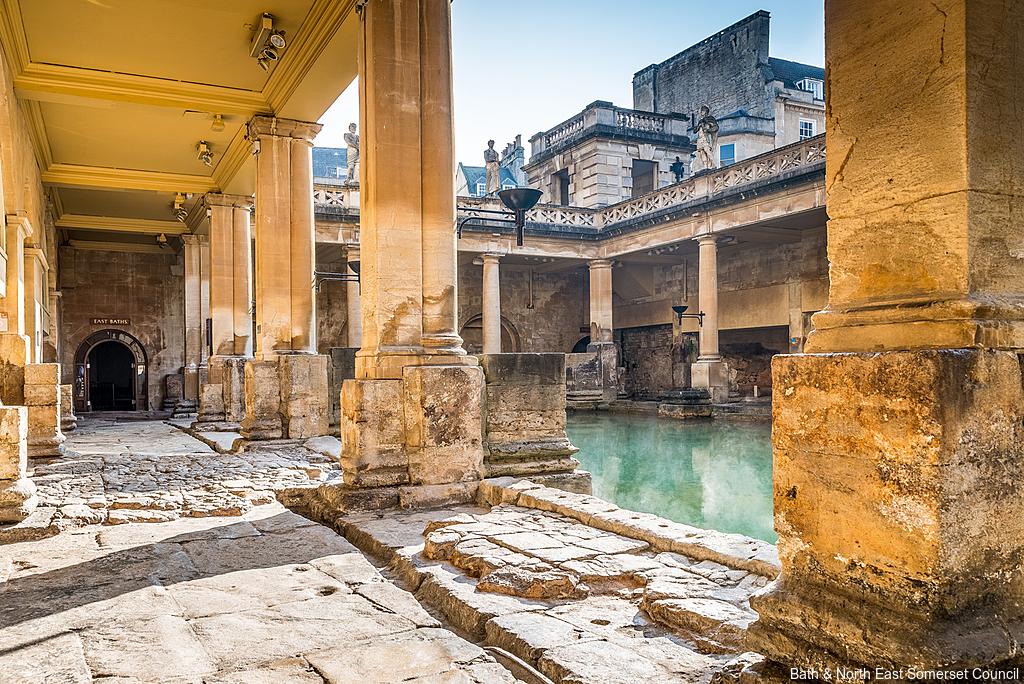 Great Bath and columns at Roman Baths, Bath, England