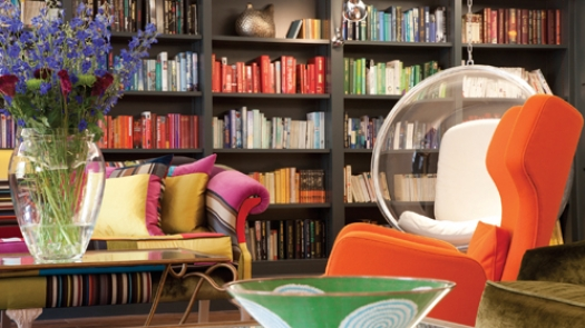 Rudding Park Hotel's chic and colourful library