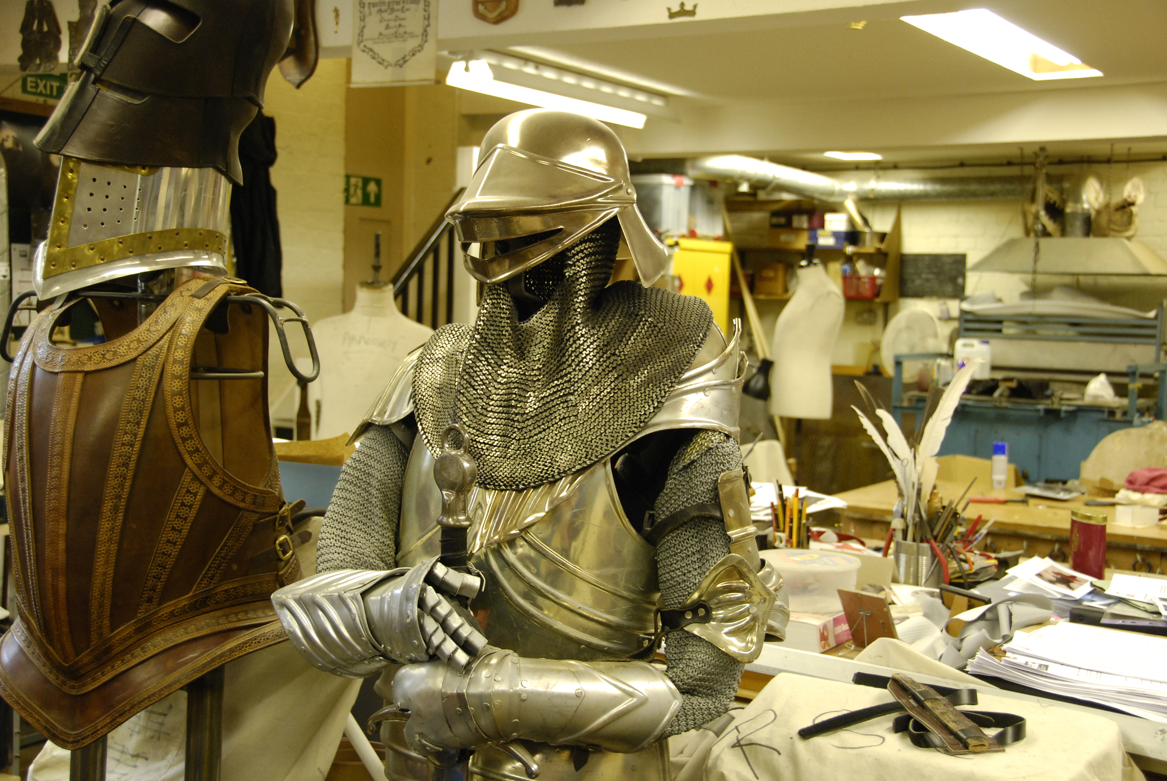 A silver armour costume on display at the RSC costume store