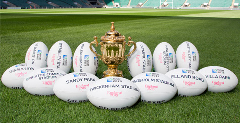 Rugby trophy and balls