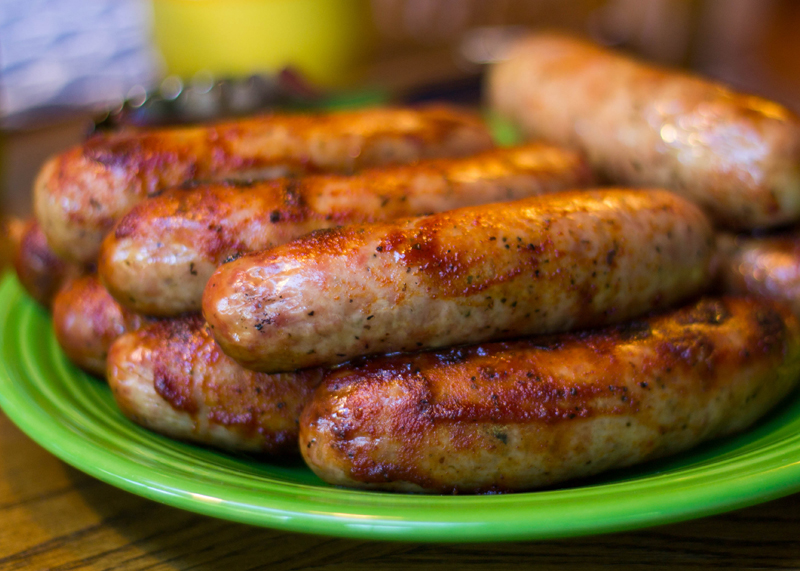 A plate of sausages
