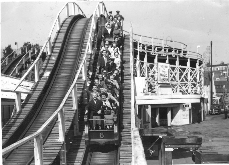A black and white image of the Scenic Railway in 1951