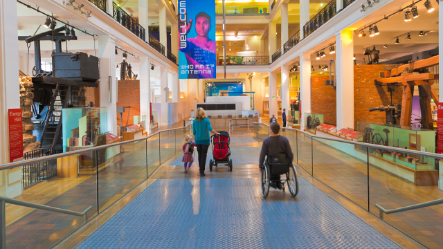 A wheelchair user at the Science Museum, London