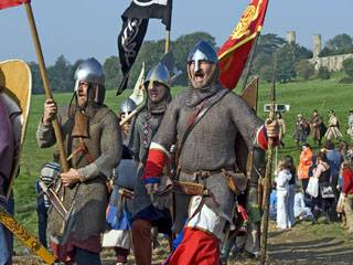 Costumed actors reenact the Battle of Hastings, East Sussex