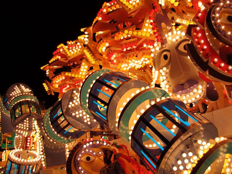 A close up of one of the ligh tbulb-covered floats