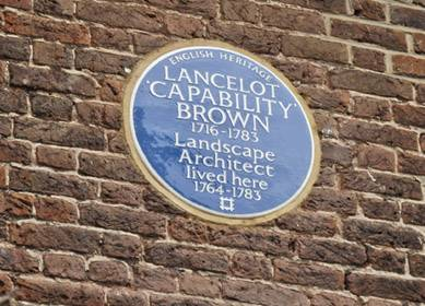 Capability Brown blue plaque - Wilderness House, Hampton Court Palace (c)English Heritage copy