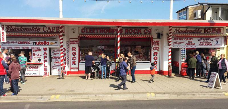 Cleethropes promenade lined with ice cream parlours and cafes © Alison Grice