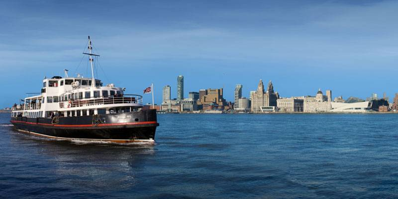 A ferry crossing the Liverpool Waterfront