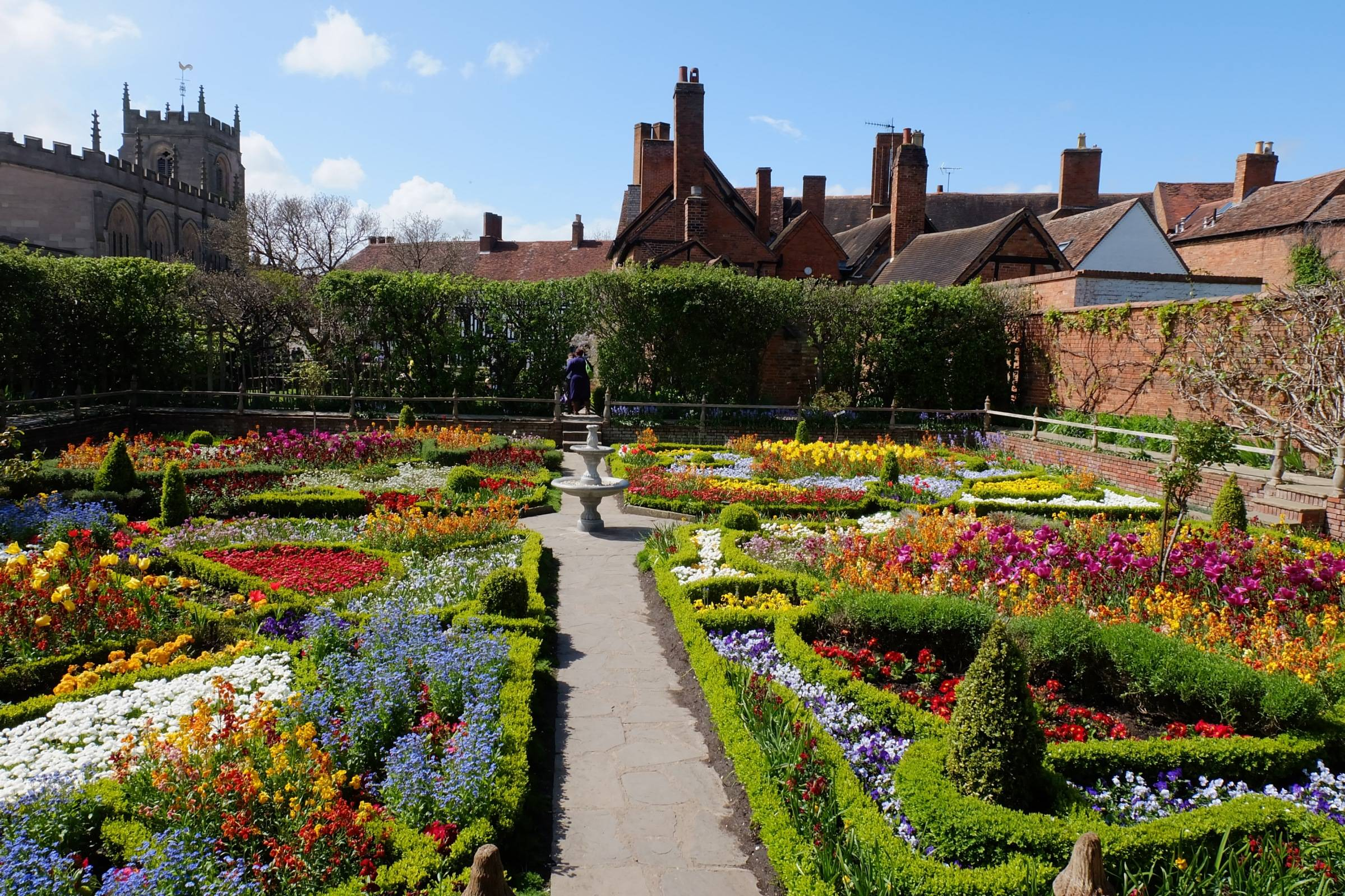 Vibrant floral borders of the Tudor Knot Garden, the site of Shakespeare's home