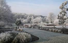 RHS Garden Harlow Carr (Main border in frost) (c)RHS