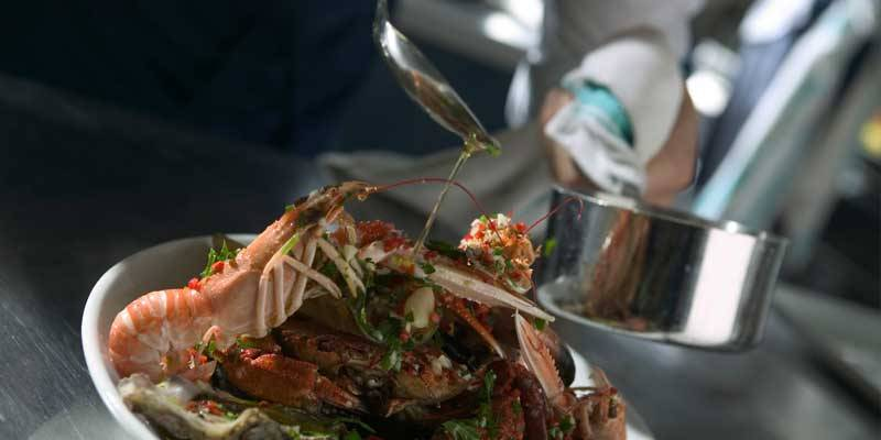 A plate of seafood at Rick Stein's restaurant in Padstow.