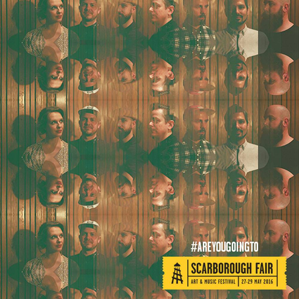 A kaleidoscope-style image of a band who will perform at Scarborough Fair
