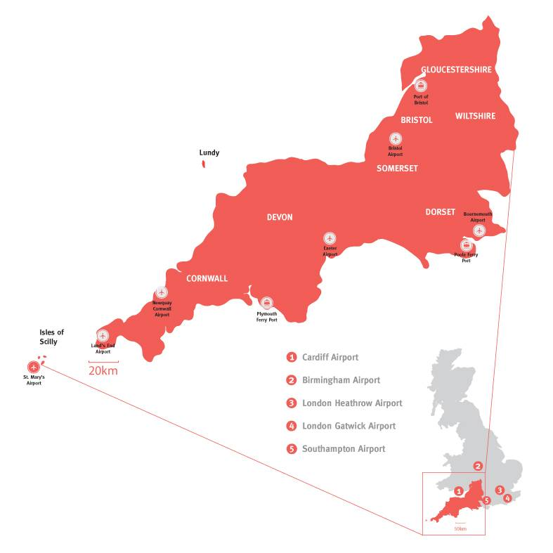 Map Of The South West Of England.Getting To South West England Visitengland