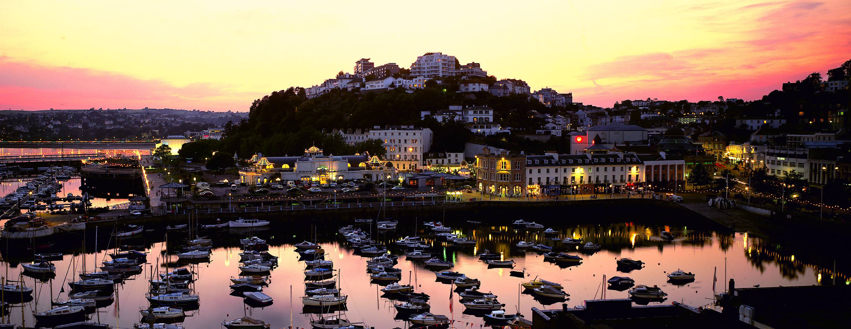 View of Torquay harbour at dusk