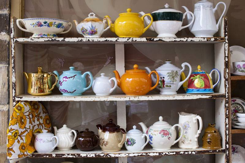 A jolly collection of teapots at The Shambles Market in Stroud