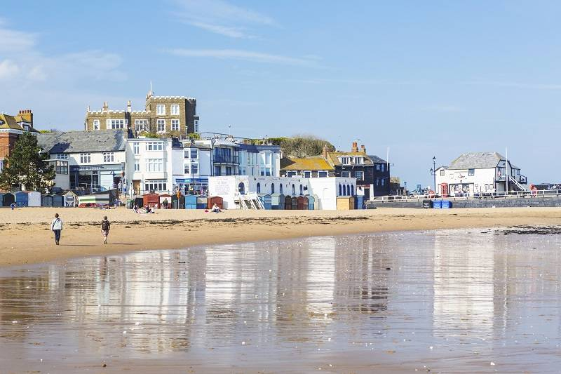 Broadstairs beach and Bleak House.