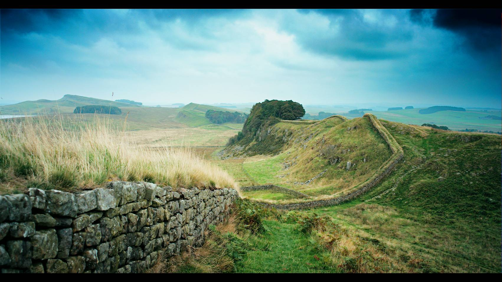 Rugby World Cup TV ad still of Hadrian's Wall reclining across the countryside