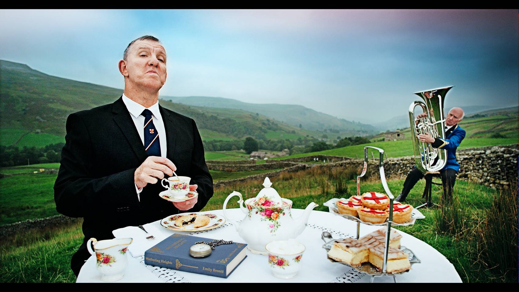 Rugby World Cup TV ad still of a Yorkshireman having afternoon tea in the Yorkshire Dales