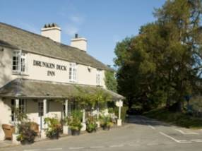 Exterior of The Drunken Duck, a country pub in Cumbria