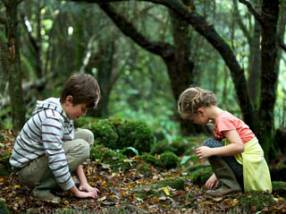 Two kids playing in Puzzle Wood